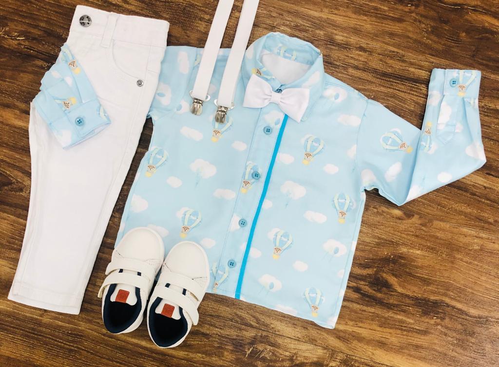 Conjunto Branco Longo Urso Baloeiro Infantil