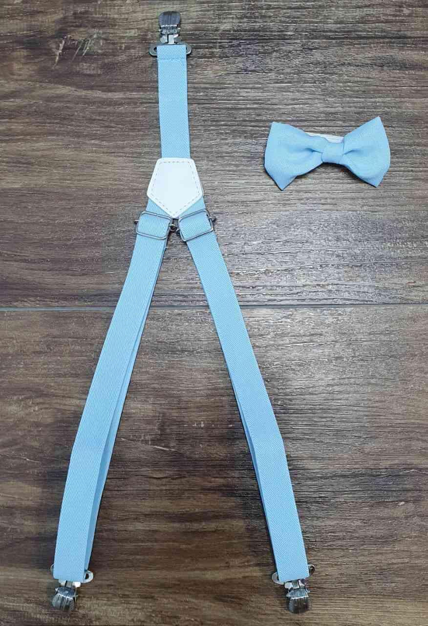 Calça branca com Camisa Manga Longa Brinquedos Gravata e Suspensório