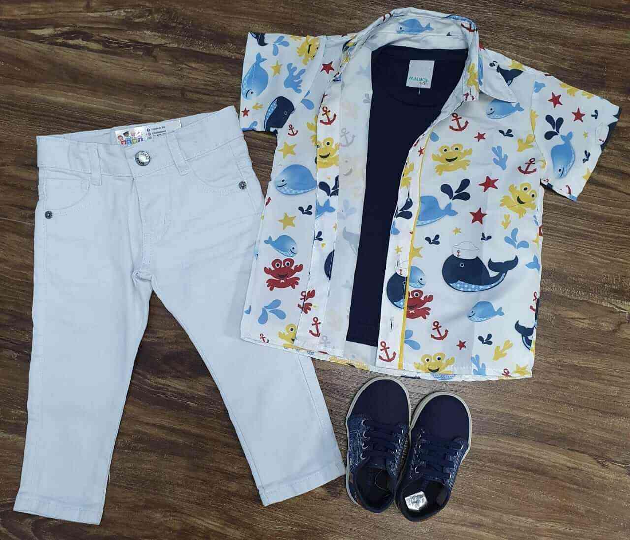 Calça Branca com Camiseta e Camisa Fundo do Mar Infantil