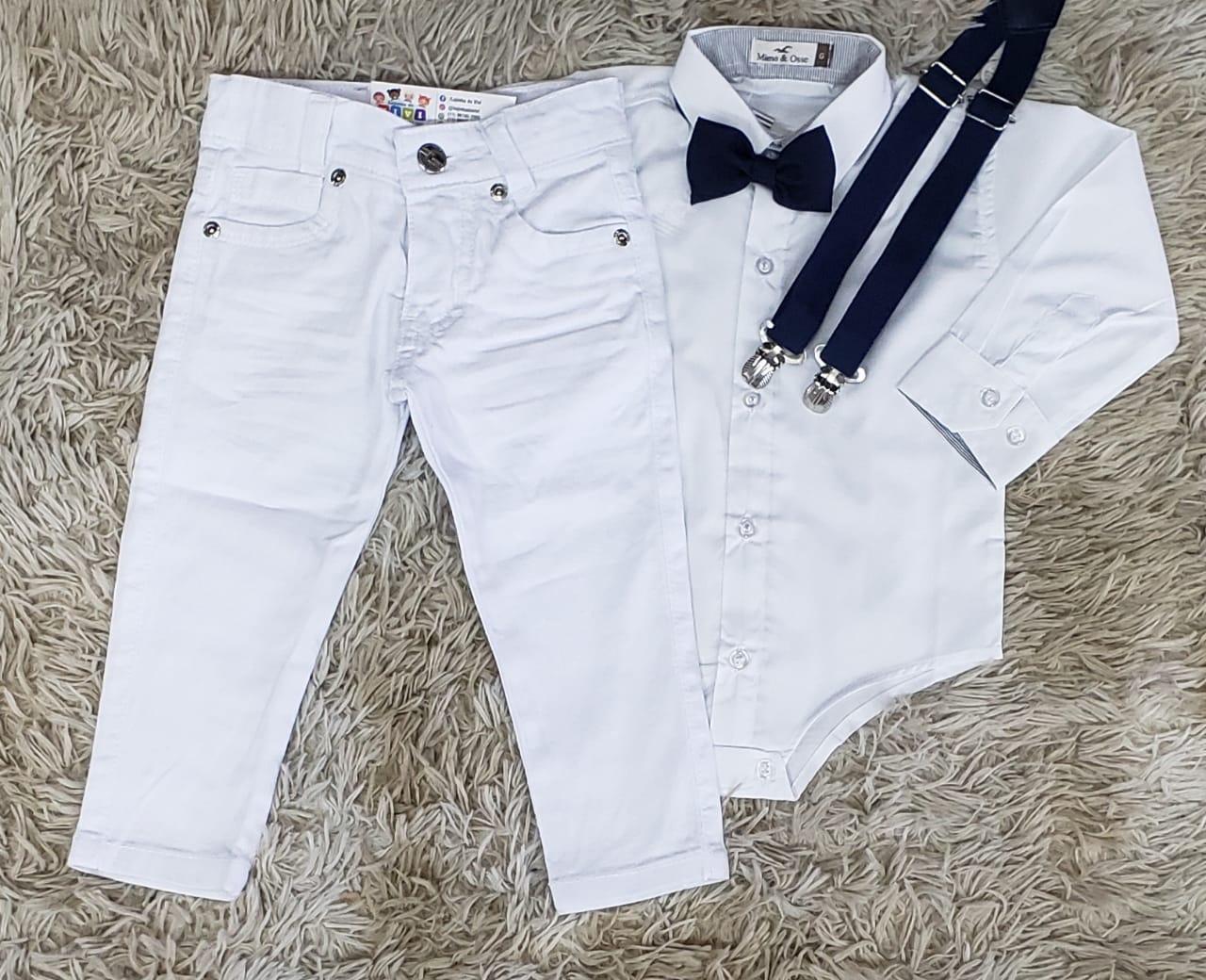 Calça Branca com Suspensório e Body Social com Gravata - Roupa Batizado