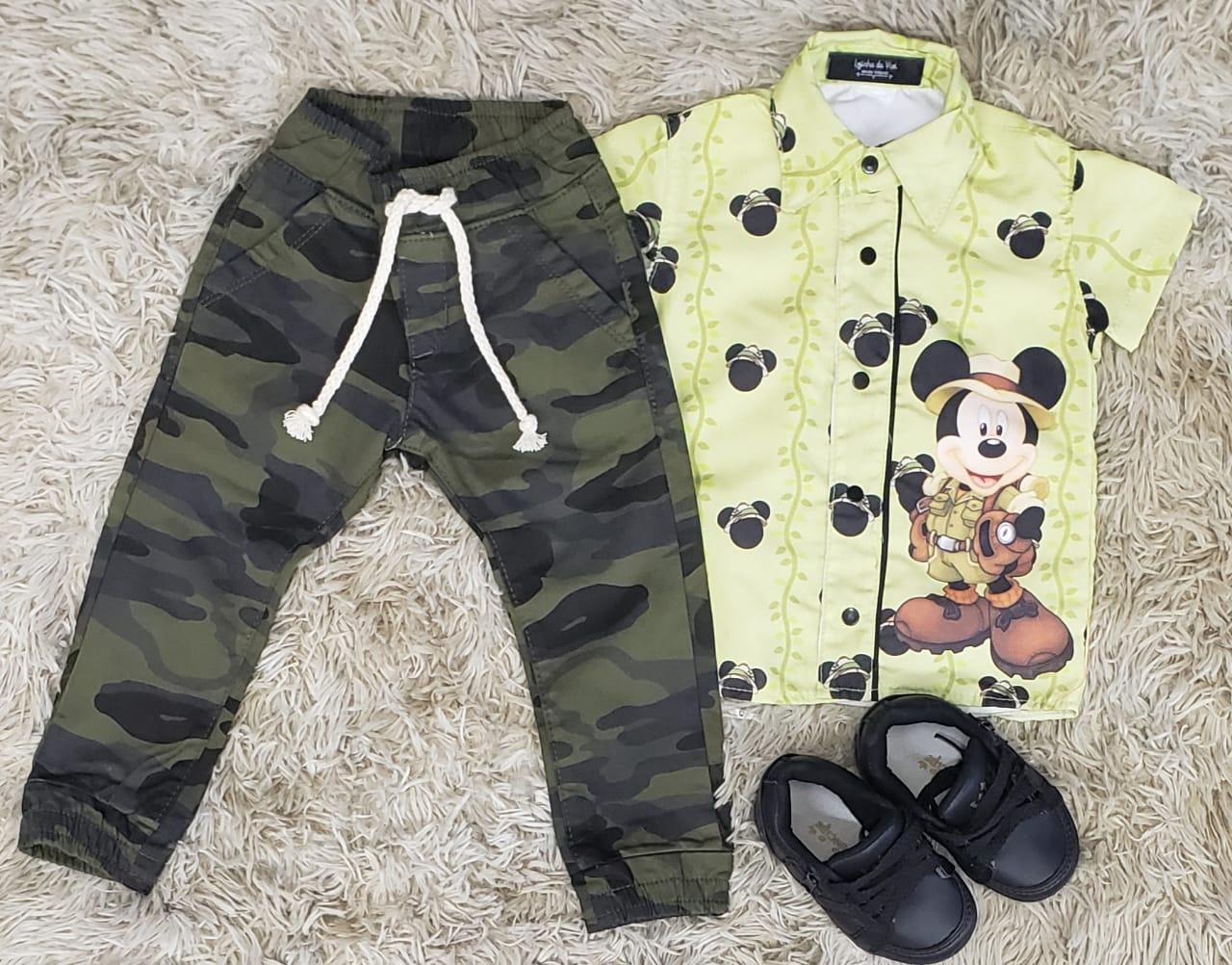 Conjunto Calça Camuflada Mickey Safari Infantil