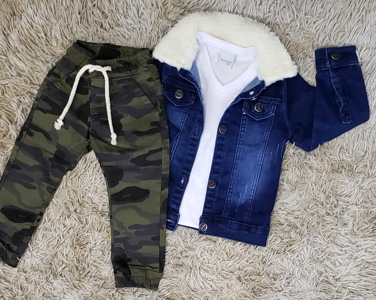 Calça Camuflada com Camiseta Branca e Jaqueta Jeans