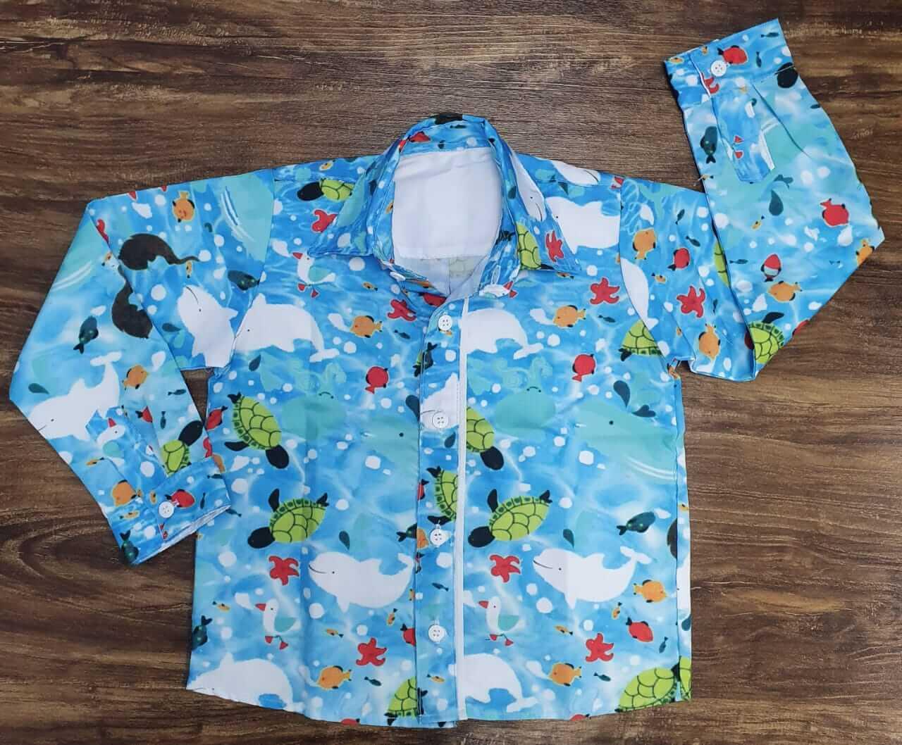 Calça com Camisa Fundo do Mar infantil