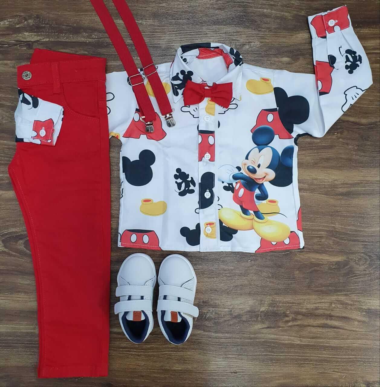 Conjunto Calça Mickey Clássico Longa Vermelho Infantil