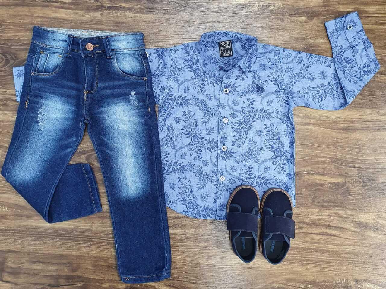 Calça com Camisa Social Floral Infantil
