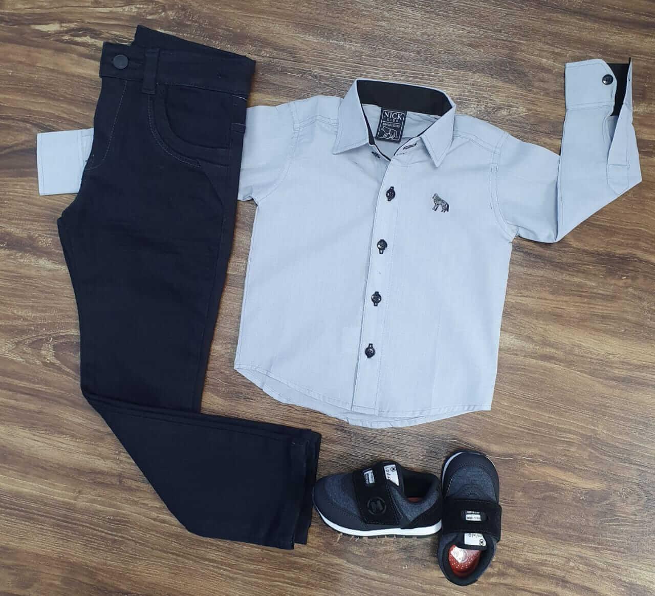 Calça Preta com Camisa Cinza Social Infantil