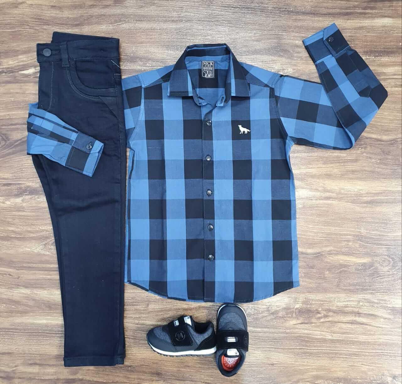 Calça com Camisa Xadrez Infantil