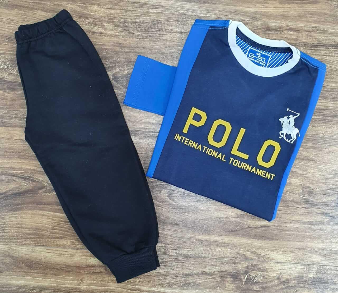 Calça de Moletom de Camiseta Manga Longa Polo