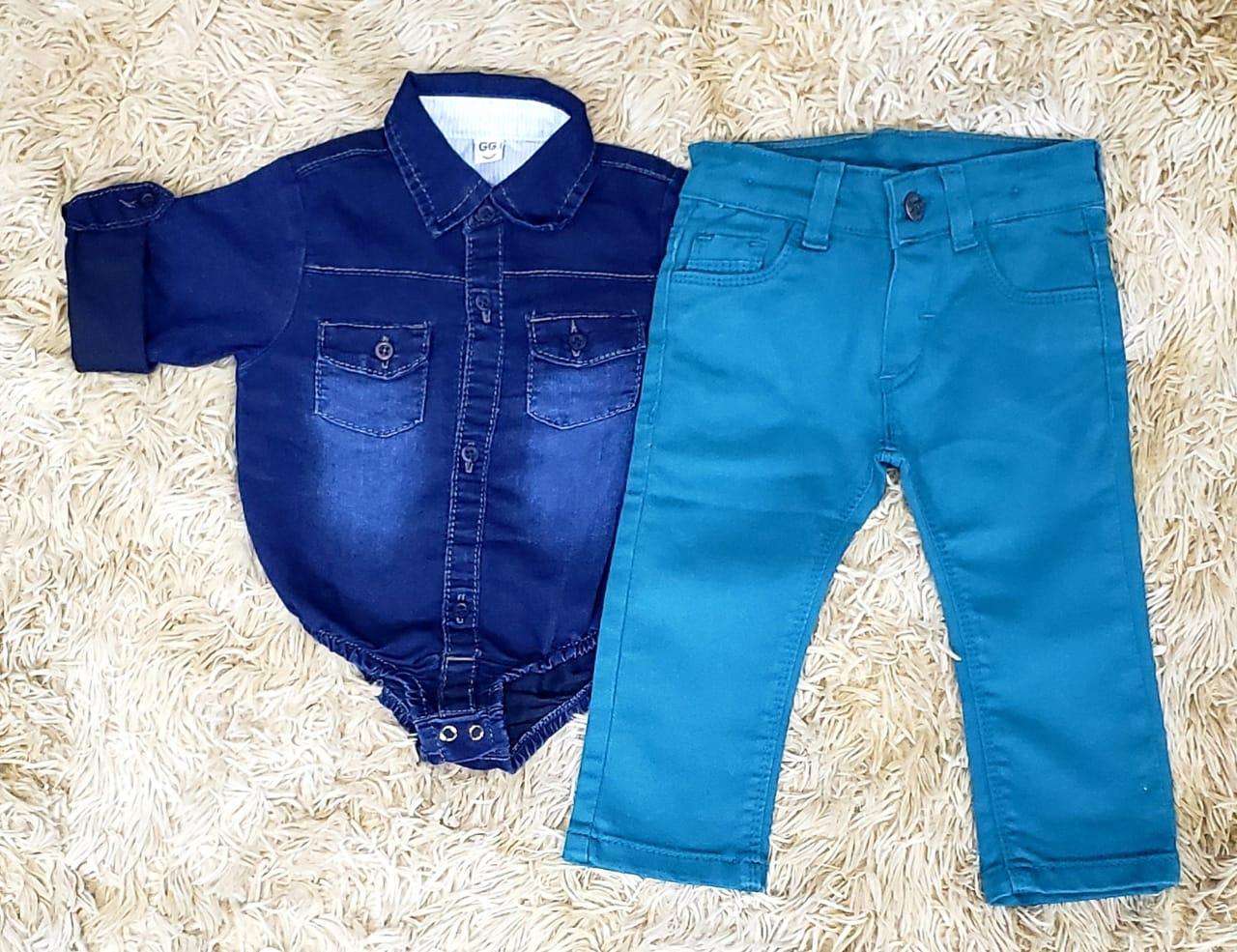 Calça Jeans Azul Petróleo com Body Jeans