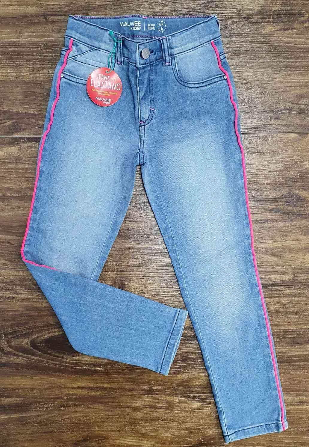 Calça Jeans Clara com Detalhe Rosa Infantil