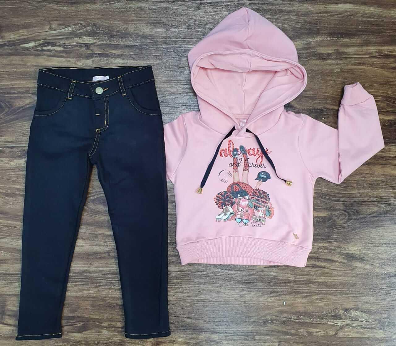 Calça Jeans com Blusa Moletom Infantil