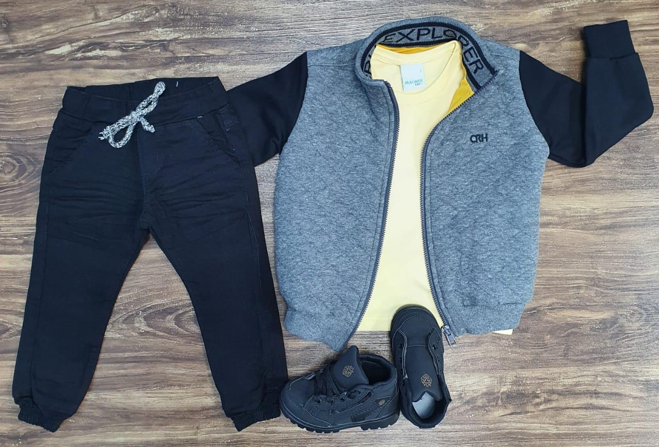 Calça Jeans com Jaqueta Moletom mais Camiseta Infantil