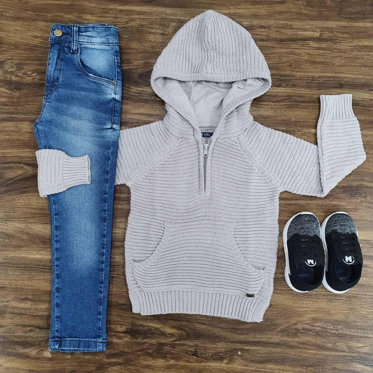 Calça Jeans com Blusão Canguru Bege