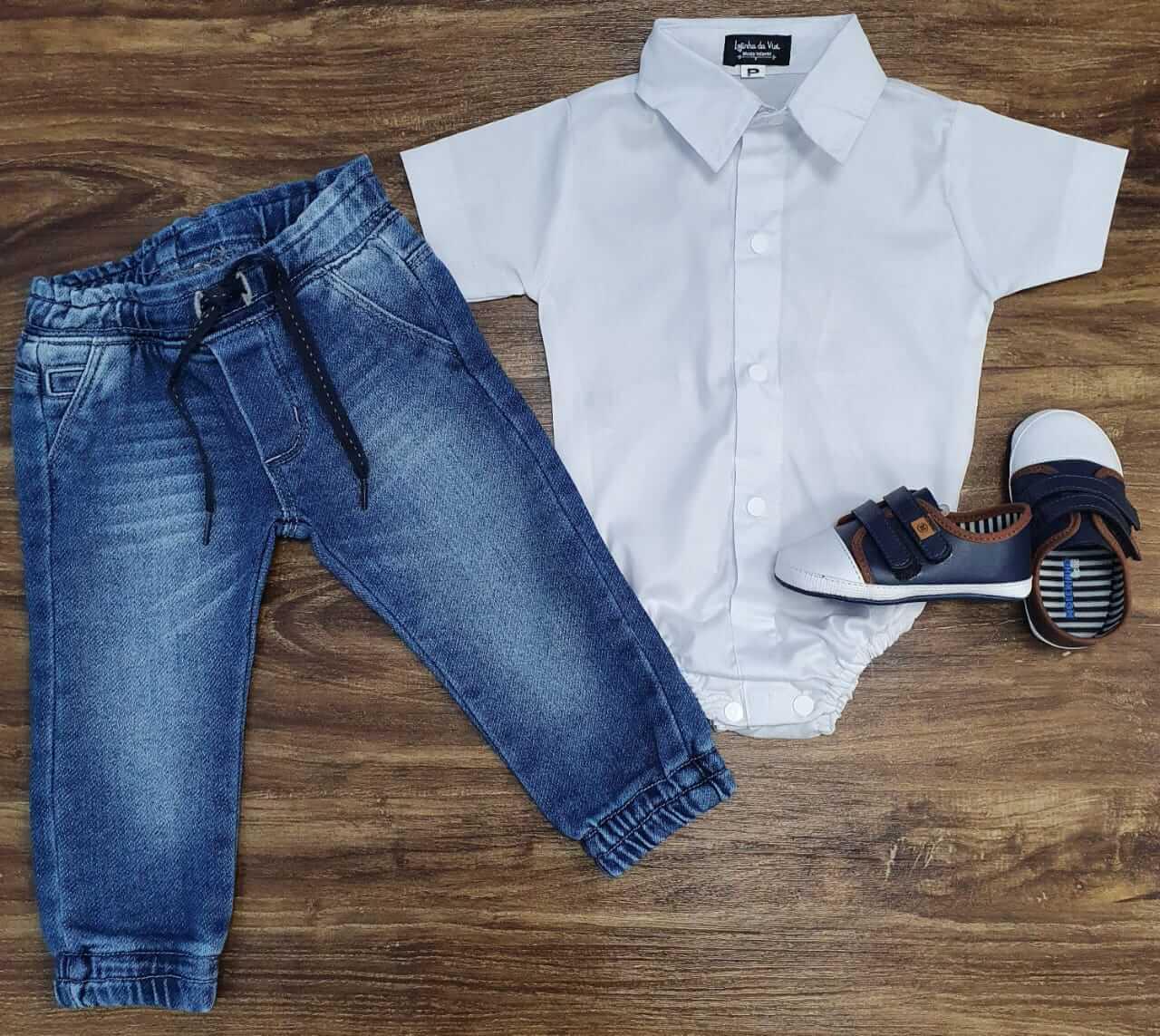 Calça Jeans com Body Infantil