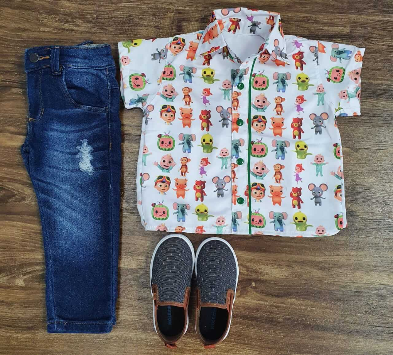 Calça Jeans com Camisa Cocomelon Infantil