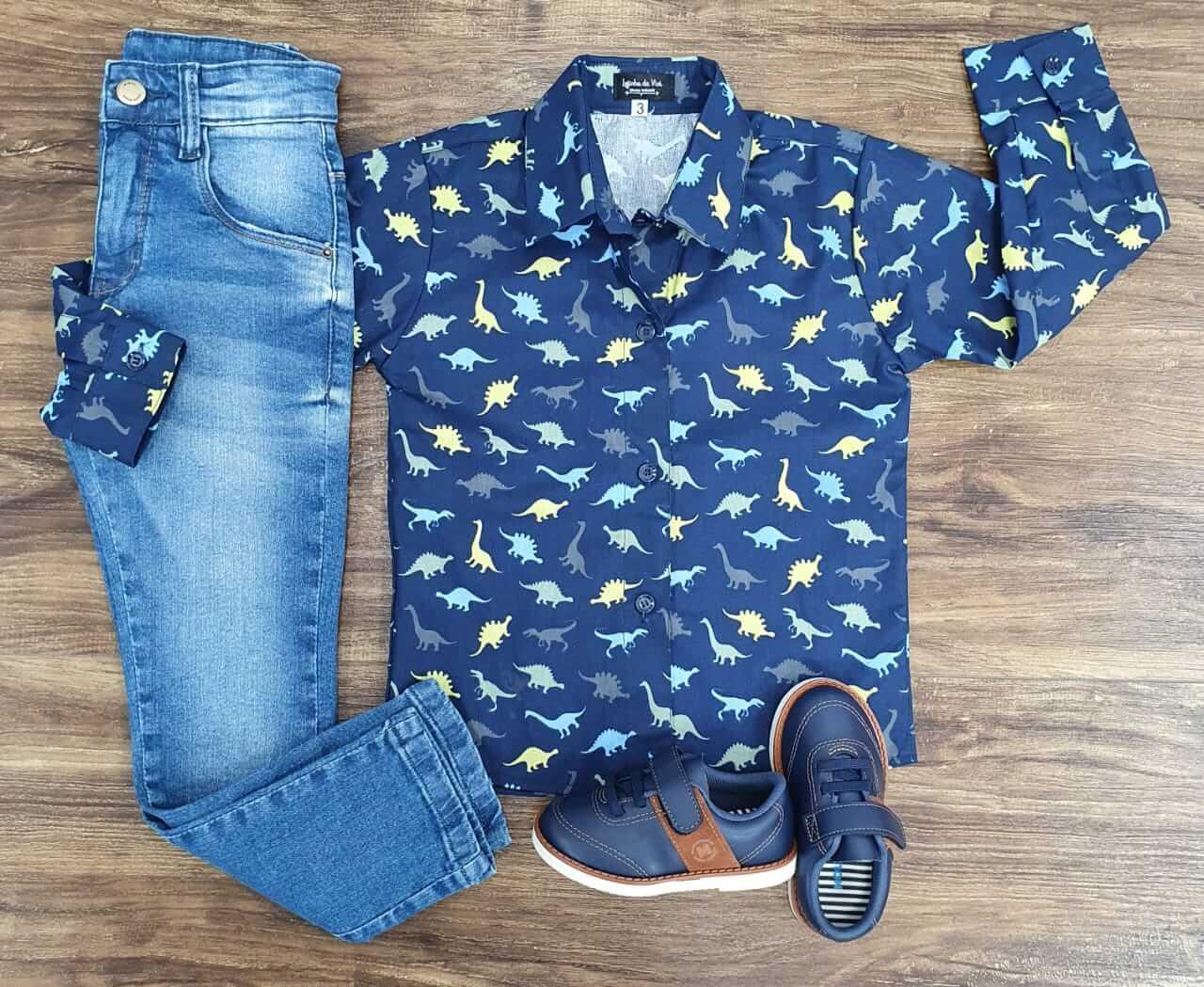 Roupa Calça Jeans com Camisa Dinossauro Infantil