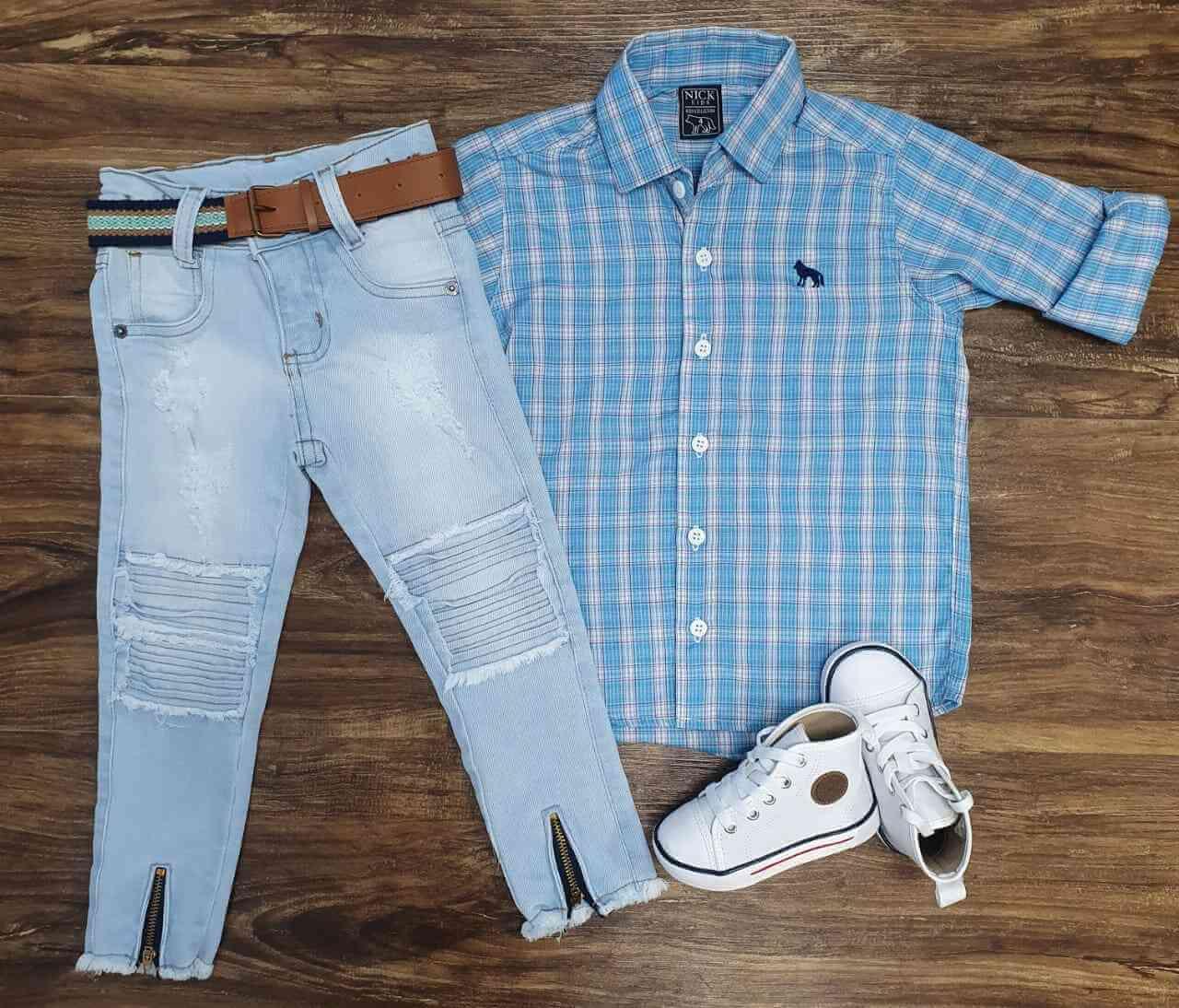 Calça Jeans com Camisa Infantil