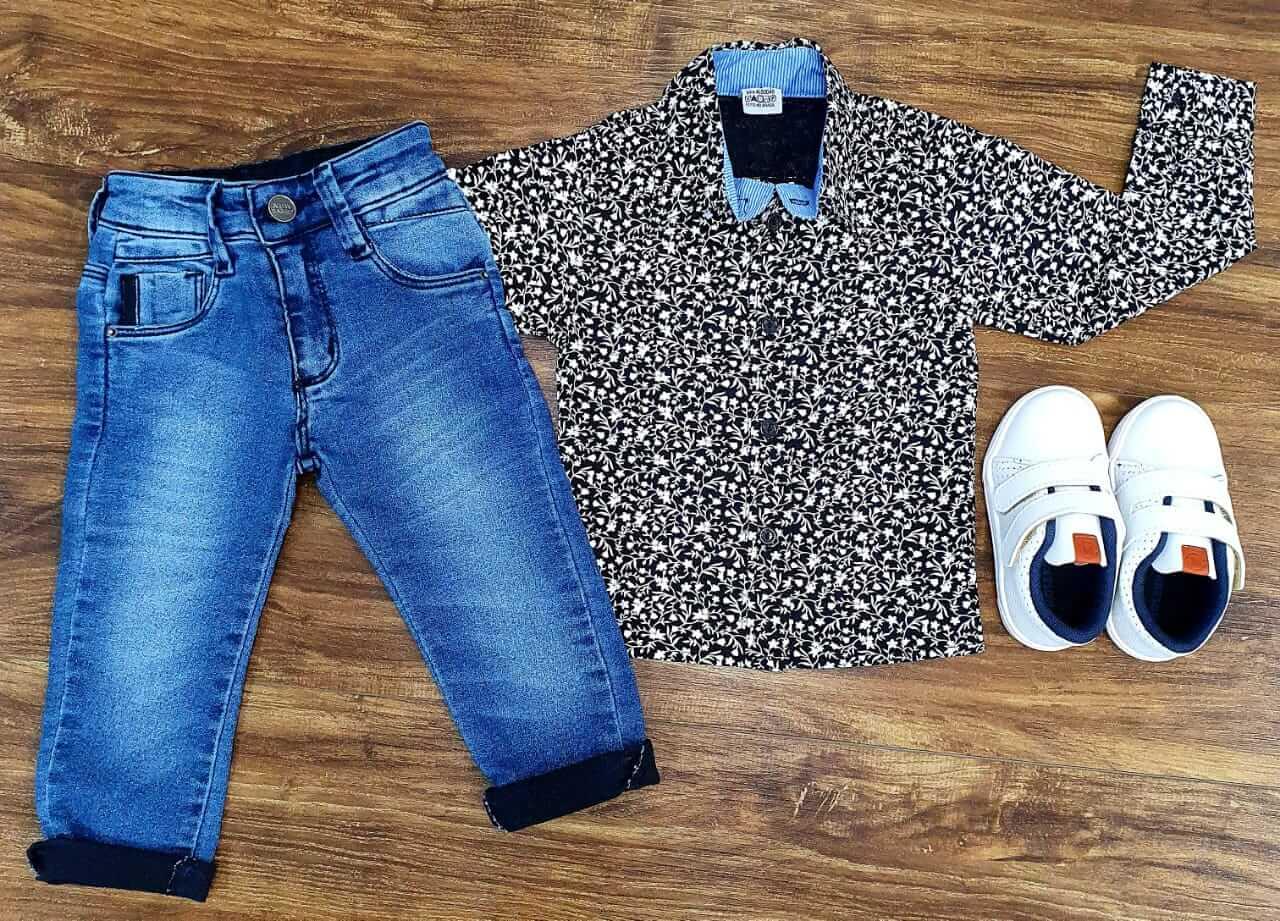 Calça Jeans com Camisa Manga Longa Floral Infantil