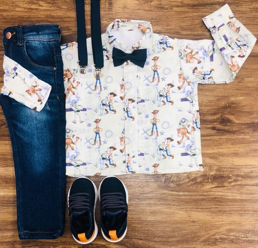 Calça Jeans com Camisa Manga Longa Toy Story Gravata e Suspensório