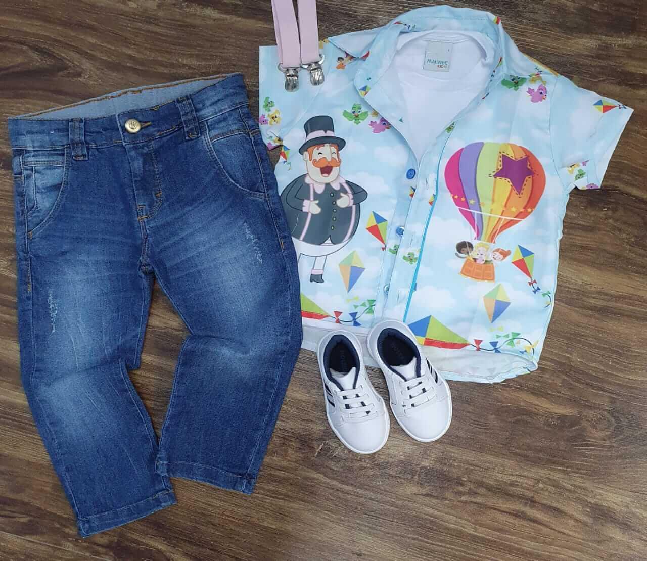 Conjunto Jeans Mundo Bita Balão Infantil