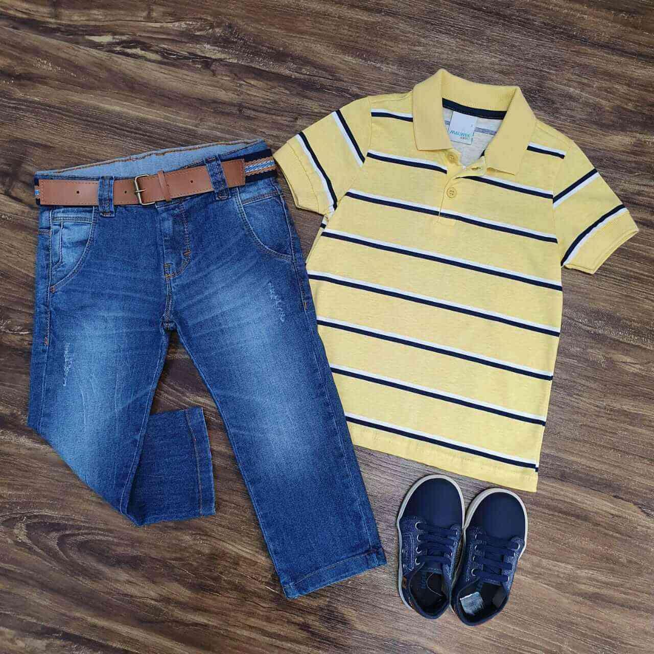 Calça Jeans com Camisa Polo Amarela Infantil