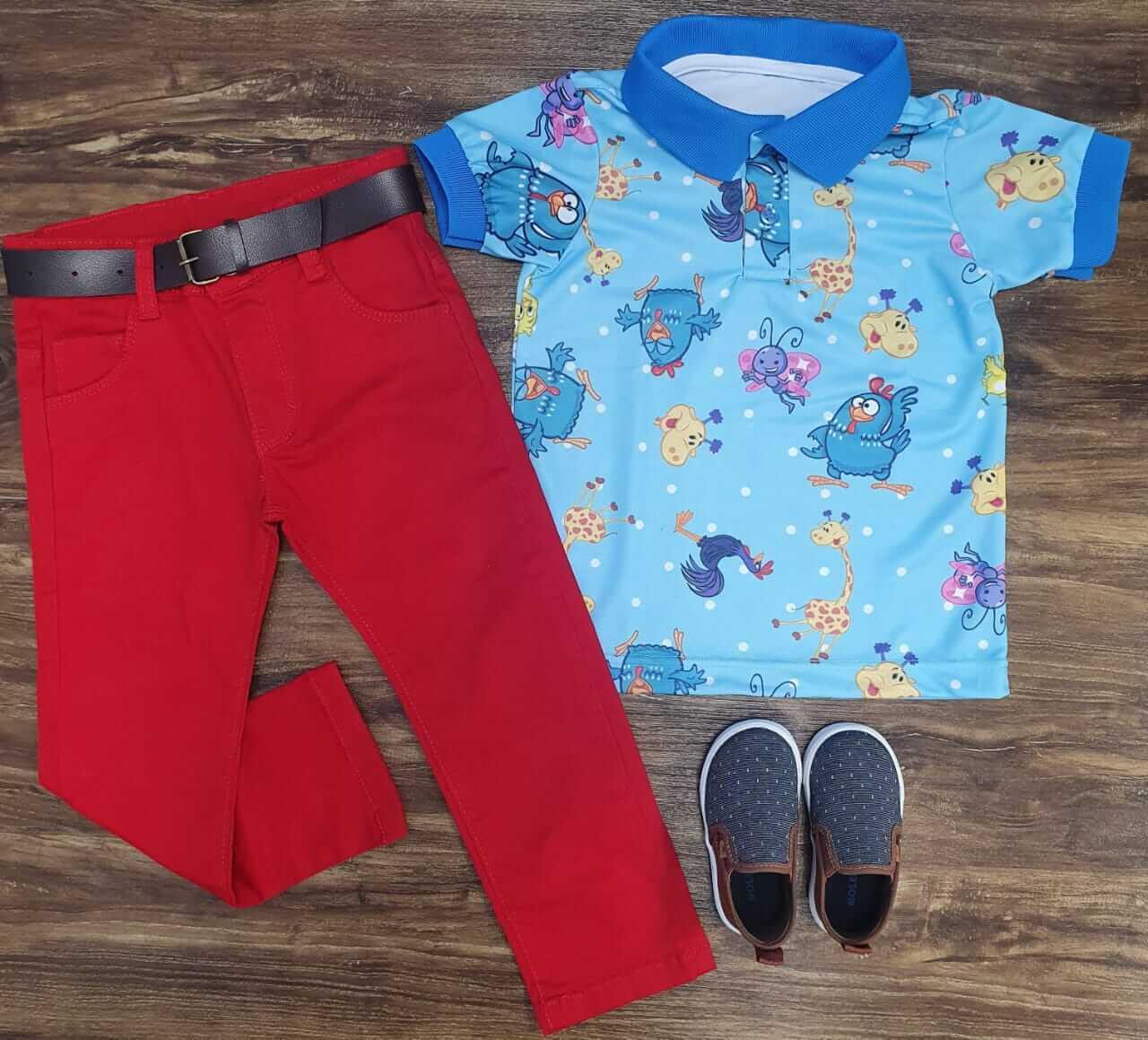 Calça Jeans com Camisa Polo Galinha Pintadinha Infantil