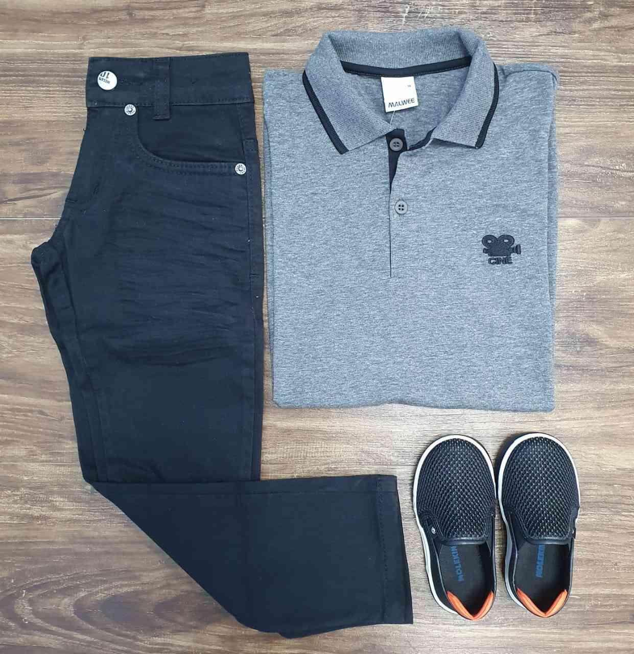 Calça Jeans com Camisa Polo Infantil