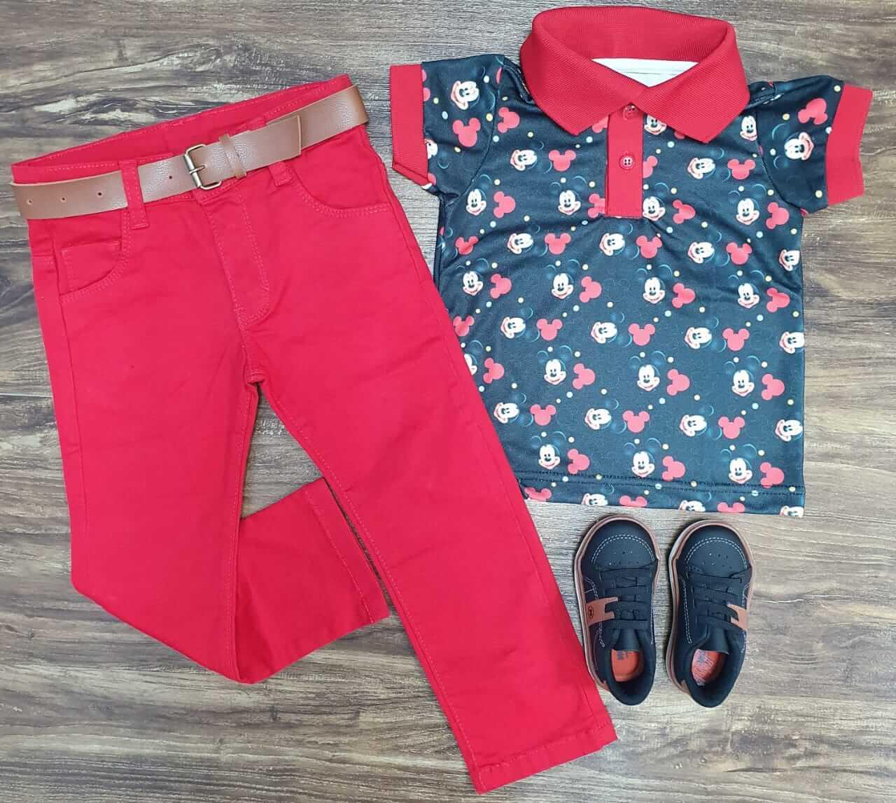 Calça Jeans com Camisa Polo Mickey Infantil
