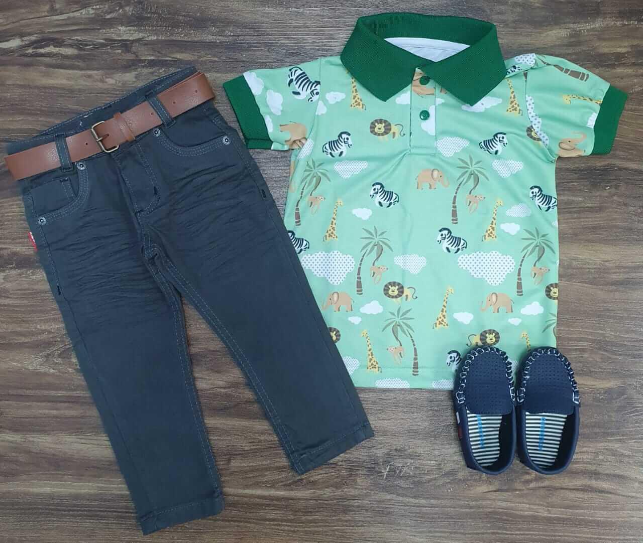Calça Jeans com Camisa Polo Safári Infantil