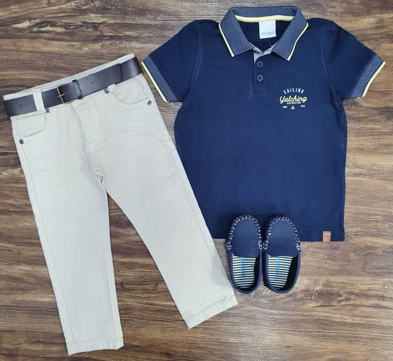 Calça Jeans com Camisa Polo Sailing Infantil