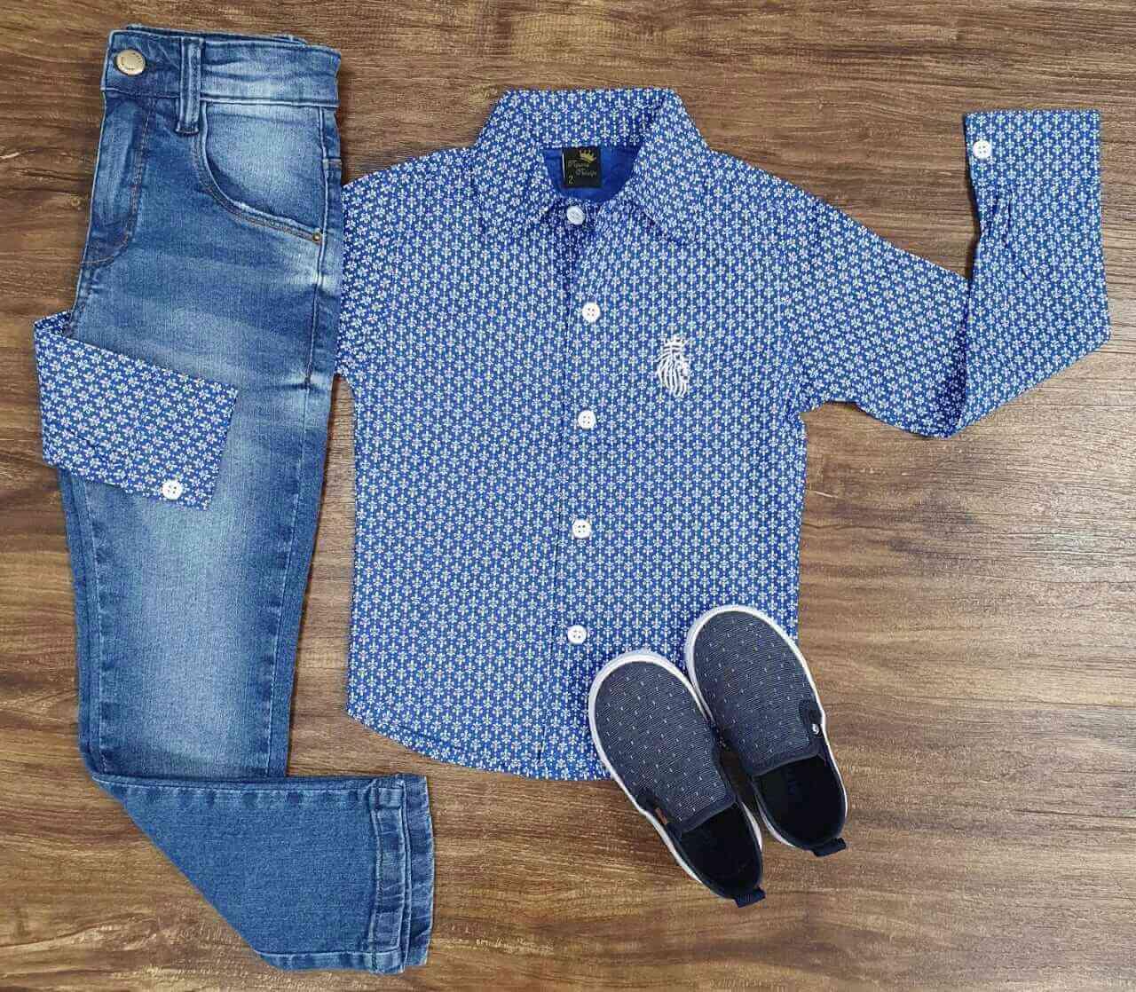 Calça Jeans com Camisa Social Desenhada