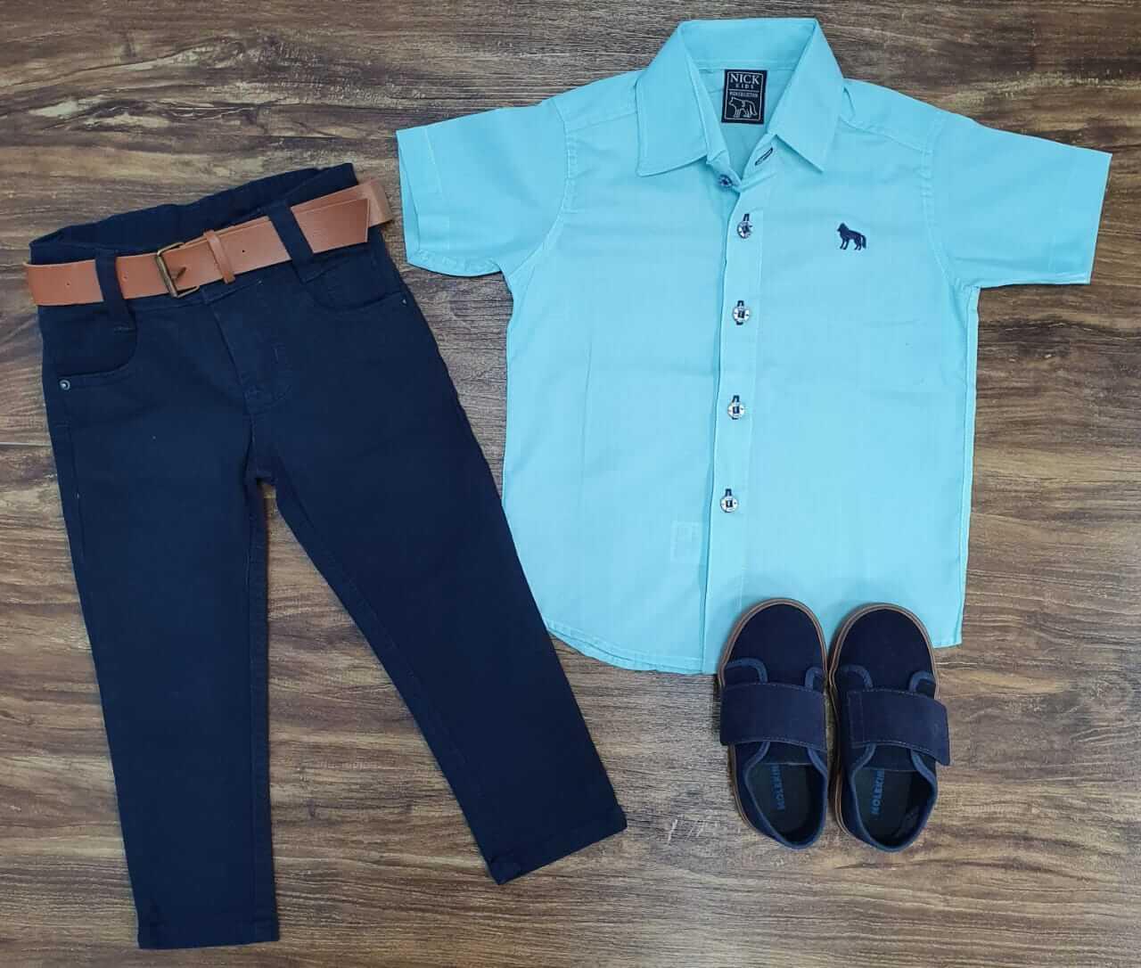 Calça Jeans com Camisa Social Infantil