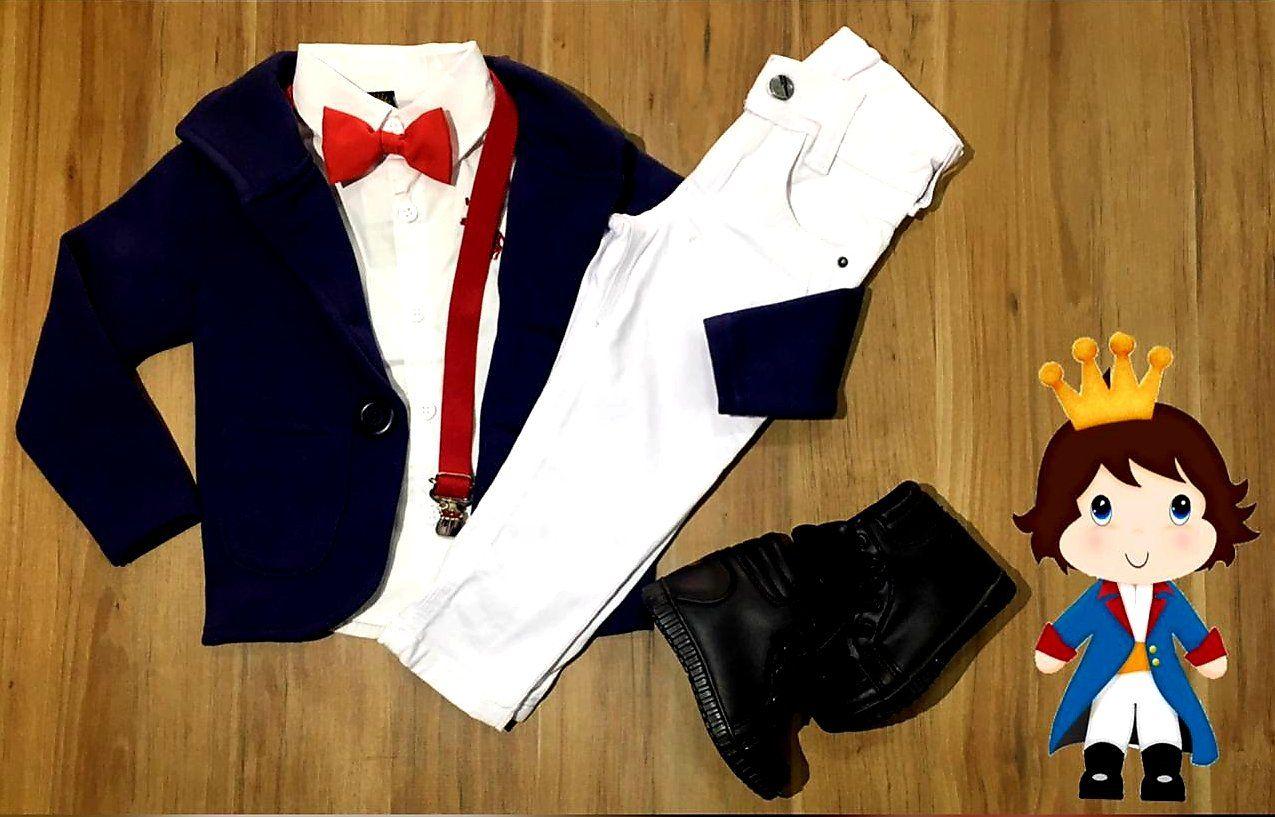 Calça Jeans com Camisa Social mais Blazer e Suspensório Gravata  - Look Pequeno Príncipe