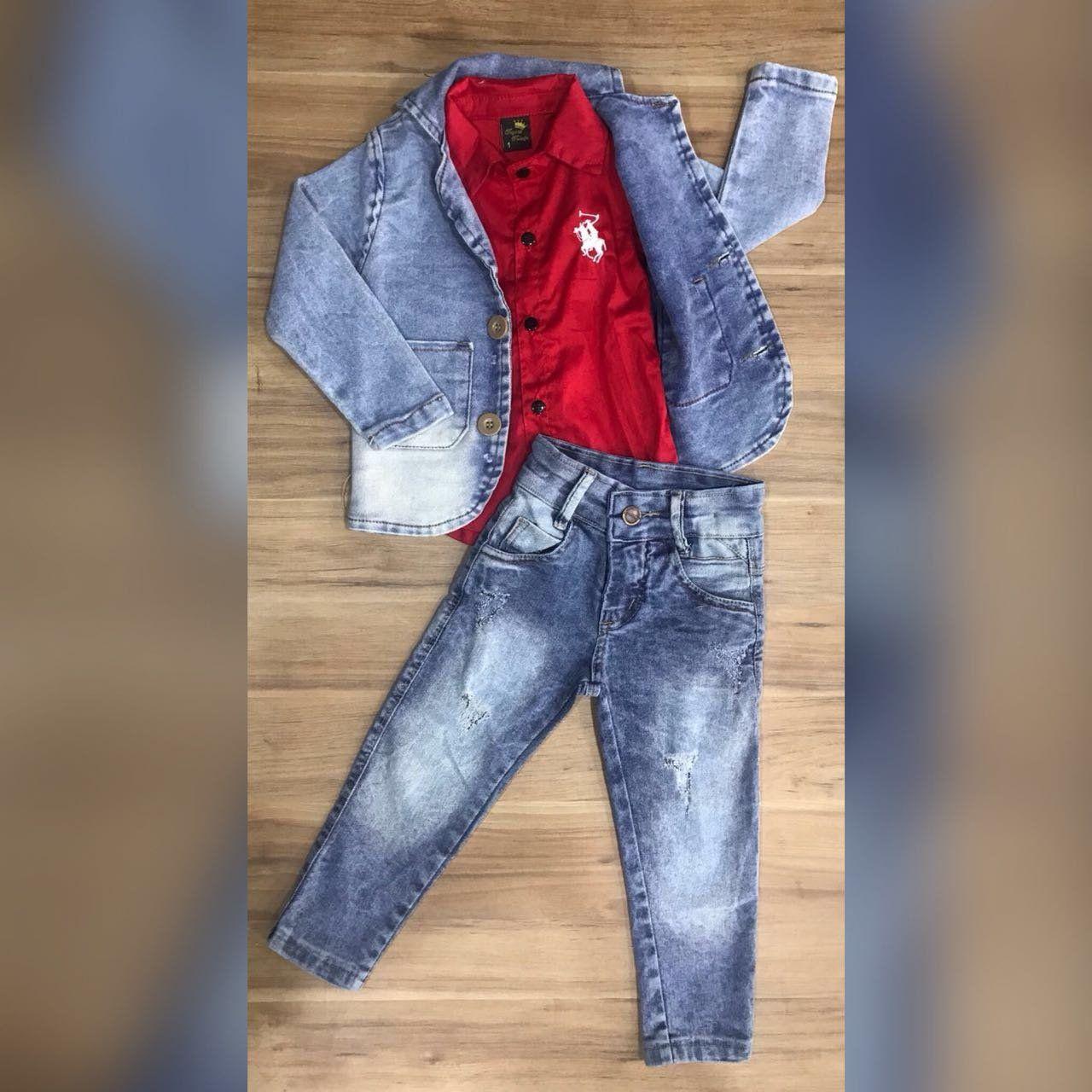 Calça Jeans com Camisa Social Vermelha e Blazer Jeans