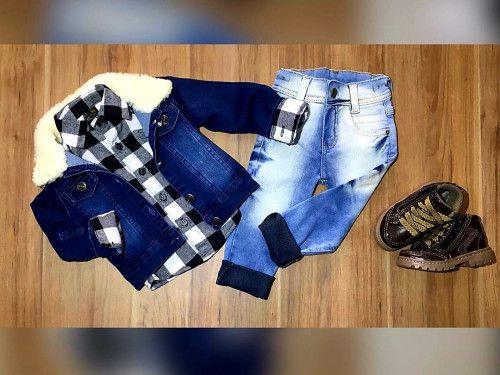 Calça Jeans com Camisa Xadrez e Jaqueta