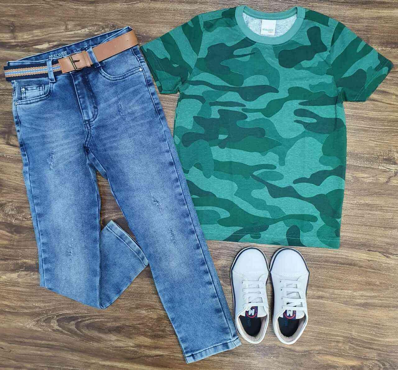 Calça Jeans com Camiseta Camuflada Infantil