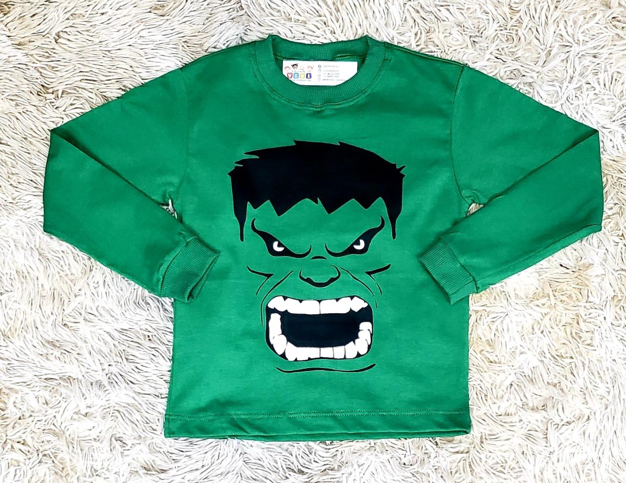 Calça Jeans com Camiseta Hulk e Camisa Xadrez Infantil