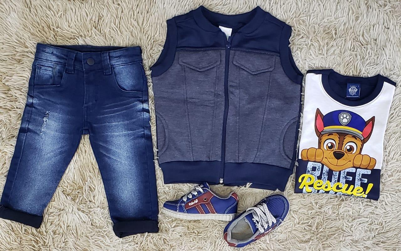 Calça Jeans com Camiseta Patrulha Canina e Colete