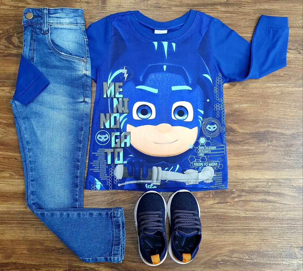 Calça Jeans com Camiseta PJ Masks Azul