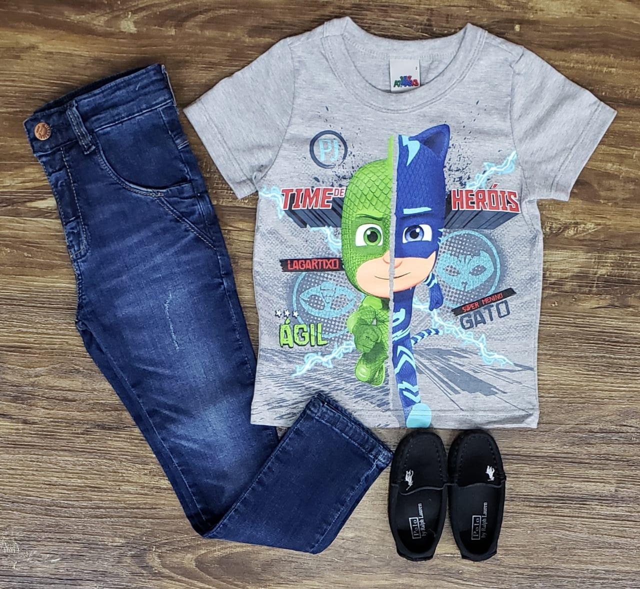 Calça Jeans com Camiseta Pj Masks Cinza
