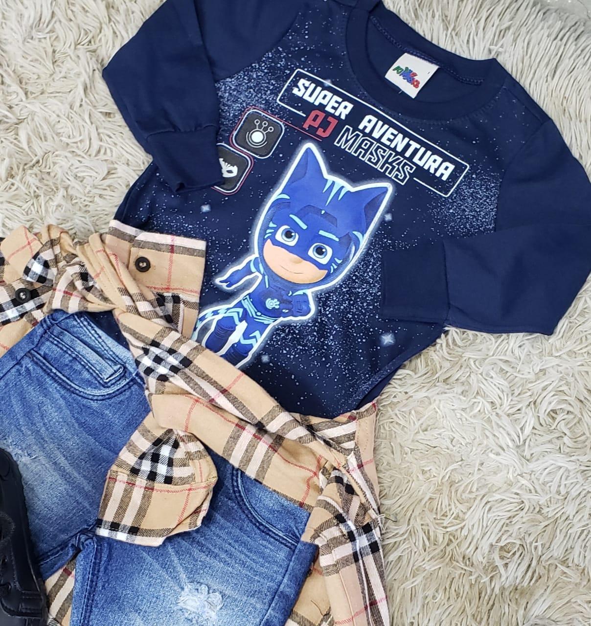 Calça Jeans com Camiseta PJ Masks e Camisa Xadrez