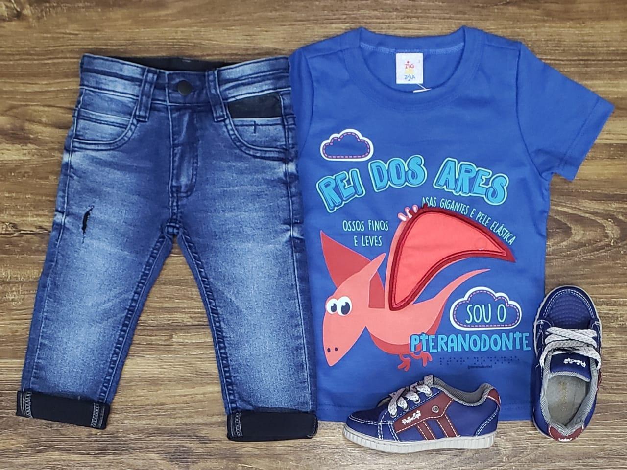 Calça Jeans Com Camiseta Rei Dos Ares