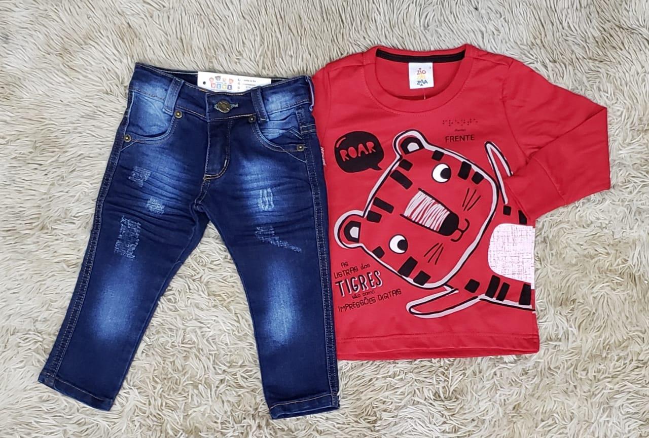 Calça Jeans com Camiseta Tiger Manga Longa