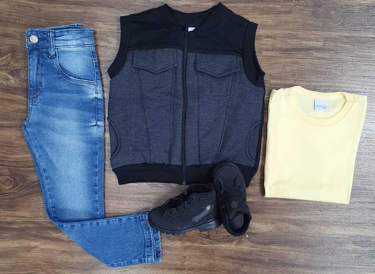 Calça Jeans com Colete e Camiseta Infantil