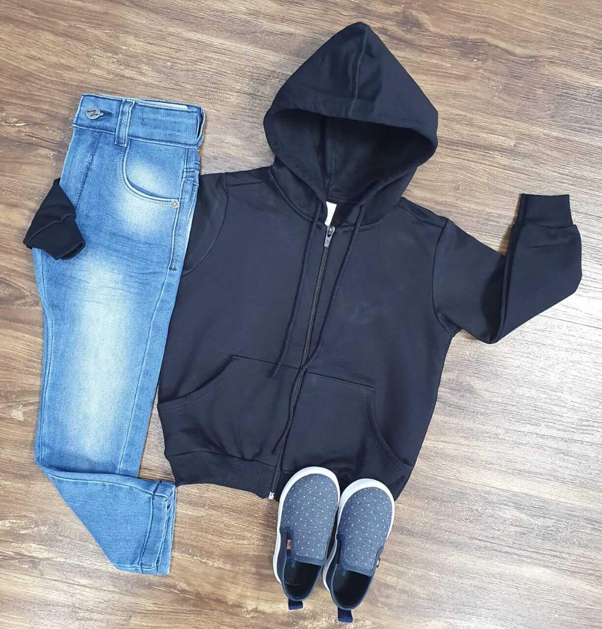 Calça Jeans com Jaqueta Preta Infantil