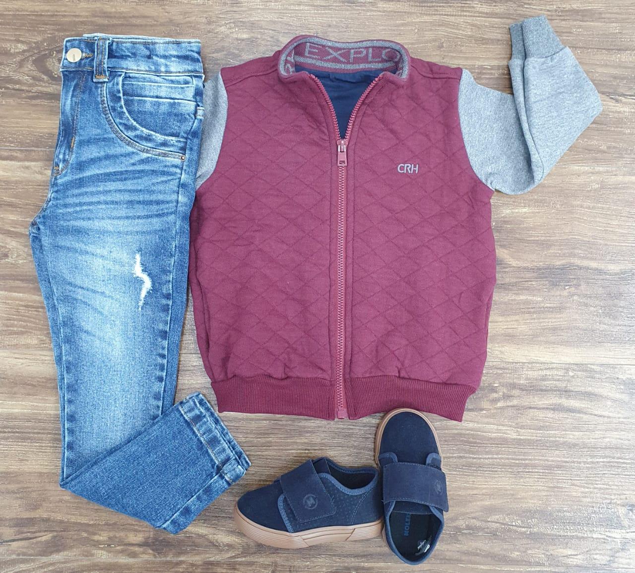 Calça Jeans com Jaqueta Moletom Explorer Vinho Infantil