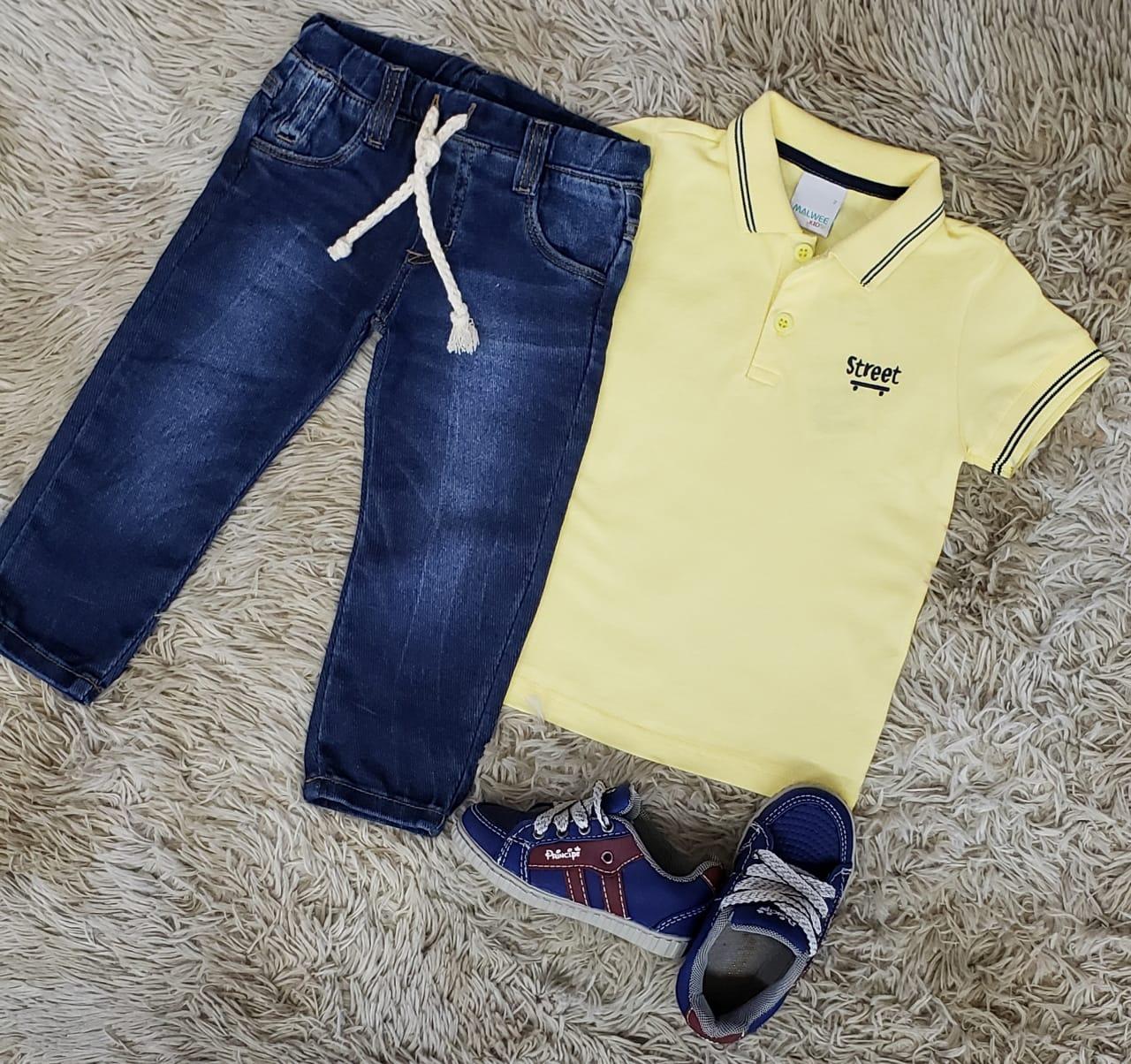 Calça Jeans Jogger com Polo