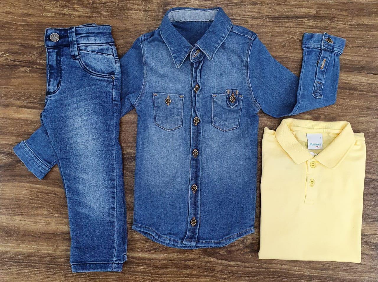 Calça Jeans com Polo Amarela e Camisa Jeans