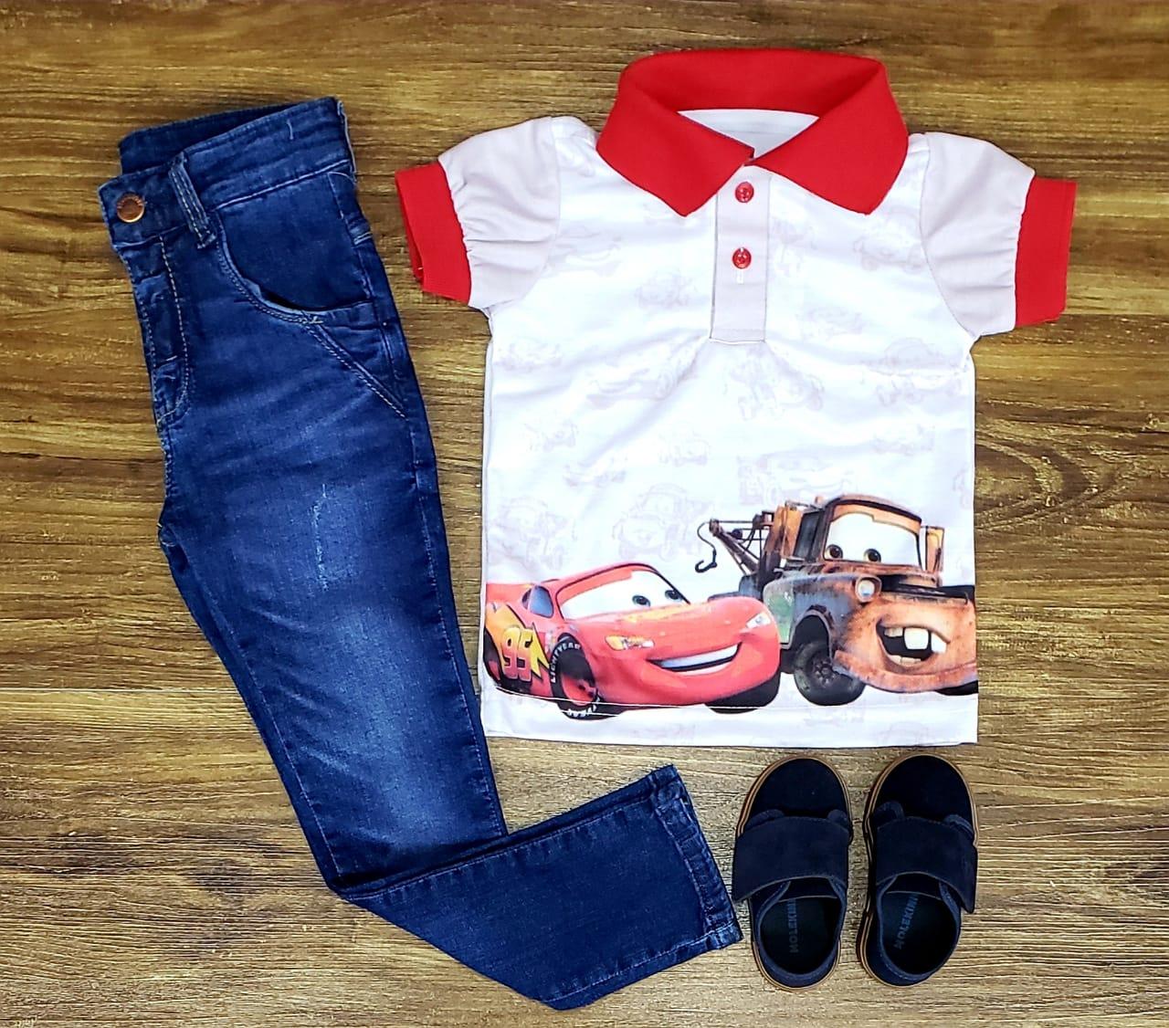 Calça Jeans Com Polo Carros