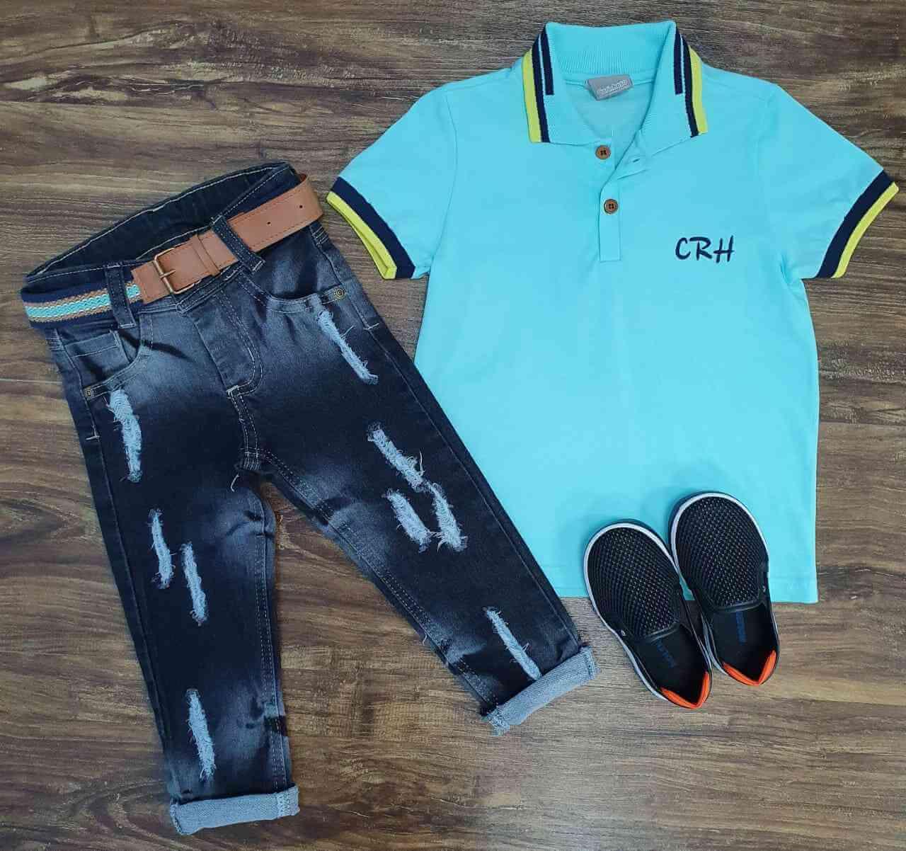 Calça Jeans com Polo CRH Infantil